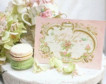 High tea, invitation cards, English, vintage tea party, London, shower tea, birthday party invitations