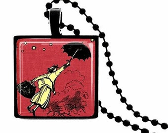 METAL FRAMED Mary Poppins  Glass Tile Necklace  FREE Chain