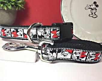 """Minnie Mouse """"Film Reel"""" Disney Dog Collar & Leash Set:  Medium or Large Adjustable-1"""" Width"""