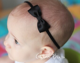 Black Baby Headbands Bows - Flower Girl Headband - Small Satin Black Bow Handmade Headband