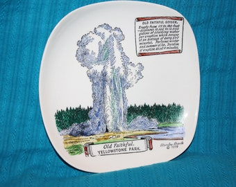 """Mid- Century """"Old Faithful Geyser"""" Yellowstone Park Souvenir Dish dated 1959 by Stanley Brock"""
