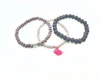 Beaded Bracelets, Arm Candy, Women's layered bracelets, Jewelry, Boho bracelet, Stretchy bracelet set, Stackable bracelets, Purple bracelet