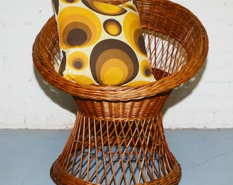 Shipping Not Included- Vintage Natural Wicker Bucket Chair Franco Albini Era 1960S- 70S