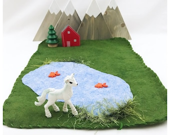 Lake Playscape Green Play Mat - wool felt pretend play storytelling Fairy Fairies Woodland landscape River Stream