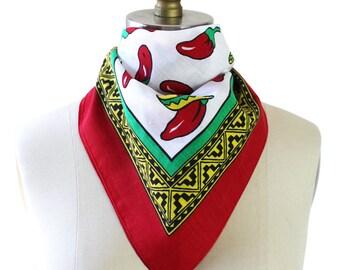 Red Green Yellow Black & White Hot Chili Pepper Square Handkerchief