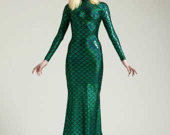 8 Colors, Sparkling Mermaid Long Sleeved Swan Necked Maxi Gown with Train