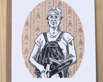 Mr. Mom/Father's Day/Greeting Card/Linocut