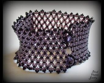 ANAIS Handmade Gothic Purple & Black Beadwoven Net Wide Cuff Bracelet
