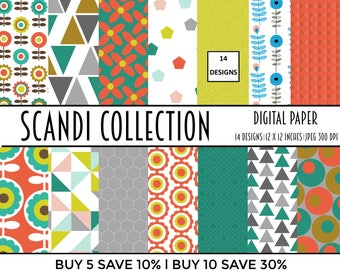 commercial use, digital paper, digital papers, scandinavian, digital paper pack, scrapbook, scrapbooking, scandi, card making, collage she