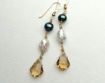 Pearls and Topaz Crystal Gold Earrings