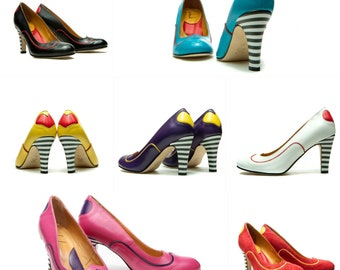 Handmade high heel leather pump/ Womens shoes/ Wedding shoes/ Designer shoes/ Heels/ heart/ FREE SHIPPING/ Stripes/ Pumps/ Unique shoes