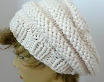 Mens or Womens Hand Knit Beehive Slouch Hat Color Off-white (H-123)