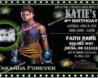 "Black Panther ""Princess Shuri"" digital Birthday invitation"
