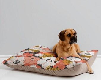 Floral Dog Bed Pillow // Pet Bedding // Animal Pillow // Modern Pet Bedding // Petals & Pods Design // Black and Coral Floral Print