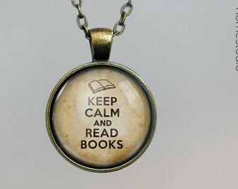 Keep Books  Glass Dome Pendant, Necklace  or Keychain Key Ring. Gift Present metal round art photo jewelry by HomeStudio