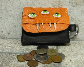 Zippered Coin Purse Change Purse Orange Black Leather Monster Face Pouch Key Ring Harry Potter Labyrinth 22