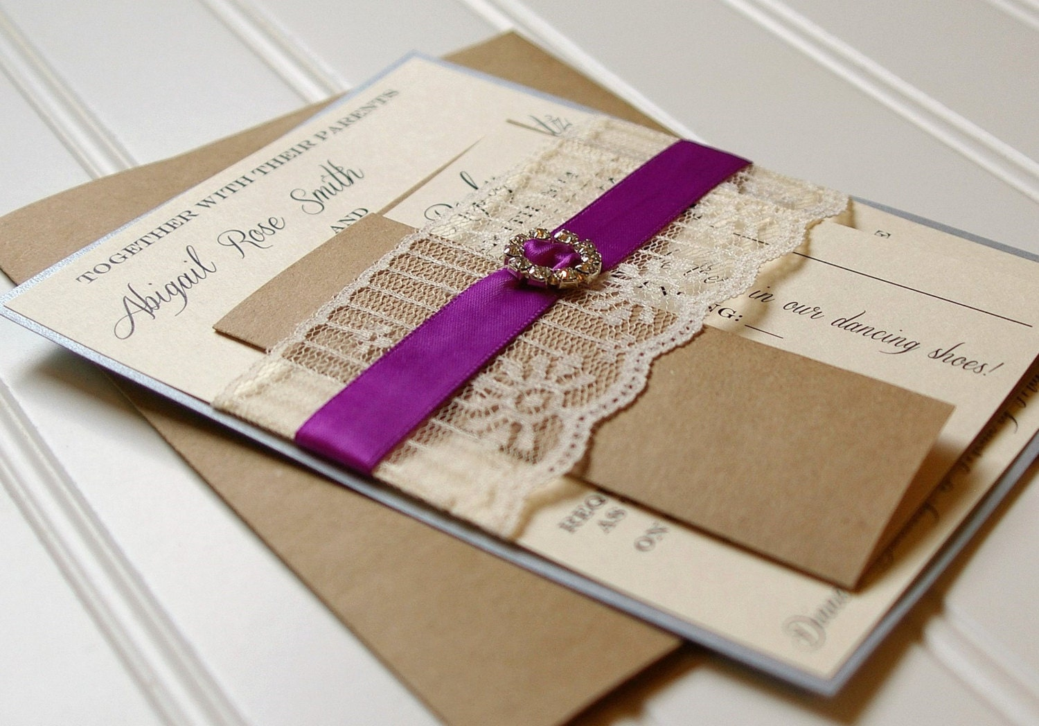 Lace Wedding Invitations: Unique Handmade Lace Ribbon and