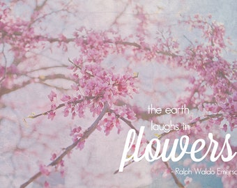 Blush Pink Cherry Blossom Typography Print Inspirational Art Pink Spring Decor Prints Typography Art Sayings Pink Gift For Her Flowers