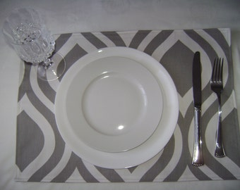 Placemats, Grey/White Placemats, Table Linen