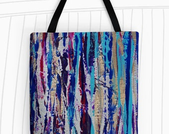 Silver Streak Tote Bag. Art Tote Bag, Reusable Bags, Grocery Bag, Large Tote Bag, Travel Bag, Silver, Modern Art, Striped Tote, Abstract Art