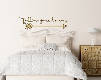Arrow Wall Decal- Follow Your Dreams Wall Decal Quote- Inspirational Wall Decal Quote- Boho Nursery Decor- Arrow Wall Decor- Tribal Wall Art