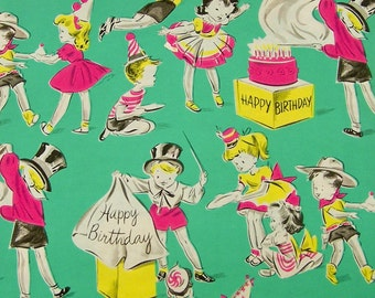 Vintage Gift Wrap Happy Birthday Present Wrapping Paper