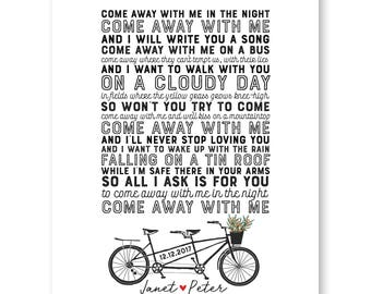 Song lyrics art etsy wedding song lyrics print anniversary gift wedding lyrics wedding giftsong lyric artfirst dance songbicycle weddingfirst dance lyrics stopboris Images
