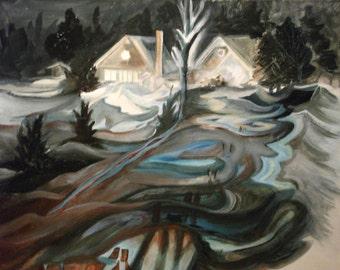 Snow fields, night landscape, winter scene, turquoise blue, Sienna, shades of gray, contemporary art, modern, mi-abstrait