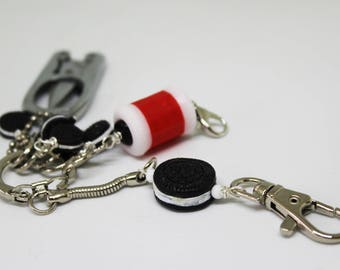 Knitter's Chatelaine: Oreo Cookie Stitch Markers, Row Counter & Folding Scissors on a Decorative Clasp