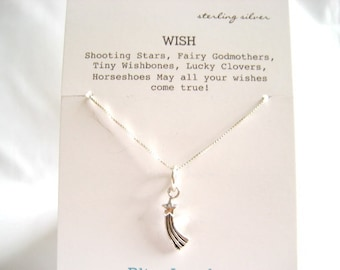 Sterling Silver Shooting Star Necklace Lucky Necklace
