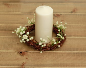 Faux Baby's Breath Candle Ring Wedding Centerpiece with Grapevine Twig Wreath