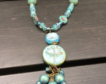 Dragonfly and Flowers Czech Glass Beads Leather Necklace \\Woodland Fairie \\Blue Flower Necklace