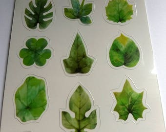 Spring Leaves Clear Stickers. PVC stickers. Pack of 15. Planners, Scrapbook, Journal, sticker flakes, paper stickers.