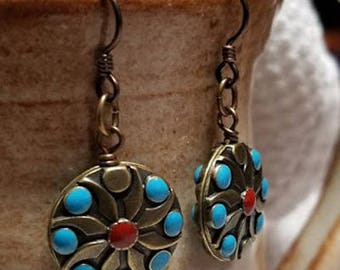 Handmade Earrings - Brass - Niobium Hypoallergenic Earwires