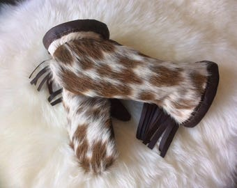 The Shorty- Hair-On CowHide Mitts