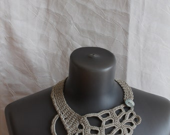 Light Grey Freeform Crochet Necklace, Unique crochet necklace, Boho chic