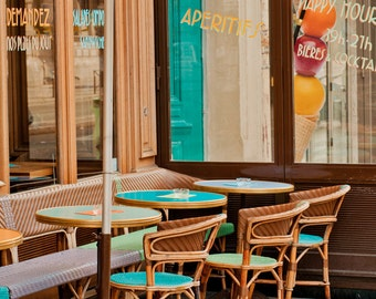 Paris Photography, Aperitifs, Cafe, Teal Cafe Chairs, Sidewalk Cafe, French Wall Decor