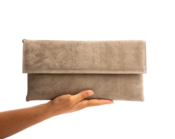 Light Grey suede leather clutch Envelope bag Leather crossbody bag Evening bag clutch Shoulder bag Handmade handbag Leather purse