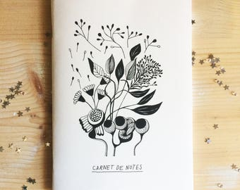 Notes, drawings, thoughts, graphic bouquet, A5 notebook