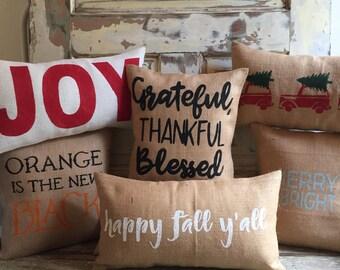 Holiday Pillow Set | 2 for 1 Holiday Pillows | Halloween Pillow | Christmas Pillow | Fall | Thanksgiving | Holiday Decor