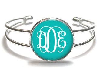 Monogram Bracelet, Turquoise Monogram Bangle, Monogram Jewelry, Bridesmaid Gift, Personalized Bracelet - Style 382