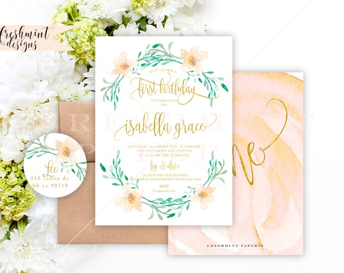 Printable invitations - first birthday invitation - birthday invitation - magnolia watercolor invitation - freshmint paperie