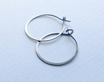 """Titanium or Niobium hoops - small hoop earrings, eco-friendly recycled metal, simple basic 3/4"""" or 1"""" ( 18mm 25mm ) handmade gift"""