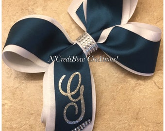 Monogrammed hair bow ~ teal hair bow ~ boutique hair bow ~ double layered hair bow ~ initial hair bow ~ ncredibow creations