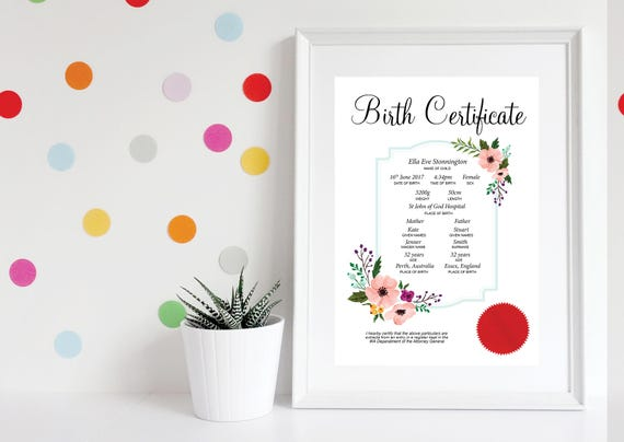Printable birth certificate baby girl birth certificate like this item yadclub Images