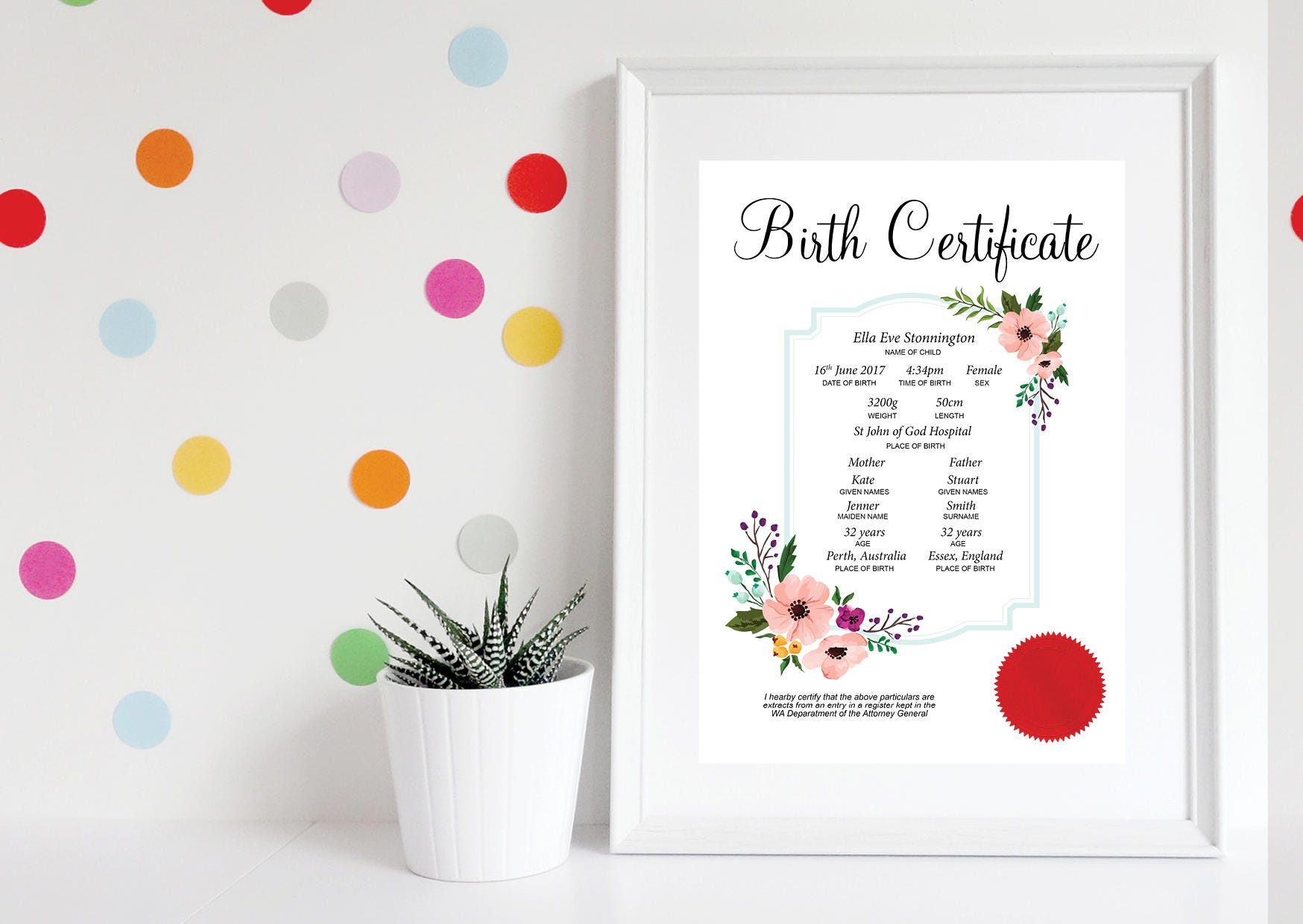 Printable birth certificate baby girl birth certificate request a custom order and have something made just for you aiddatafo Image collections