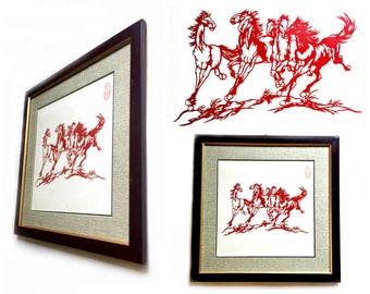 Vintage Japanese Horses Paper Cutting Art, Framed Japanese Kiri-e Horses, Asian Kirie Red Stallions, Signed Japanese Paper Cut Horse Art