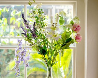 Silk Flowers | Country Garden Lily, Peony & Wisteria Bouquet | Artificial Flower Arrangement| Faux Flowers By UK Florist