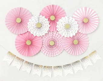 Baby Girl Shower Decorations, Bridal Shower Decorations, Birthday Girl  Party Decorations, Pink And Gold Paper Fans