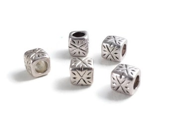 Antique Silver Large Hole Cube Beads 5 pcs